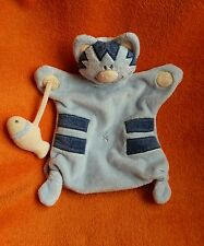 """DreamTime Blue Cat Baby Comforter Blankie Puppet Doudou Soft Toy 12"""""""