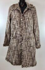 View Women's Long Blazer Jacket Size 10 Brown Tan Tweed Coat