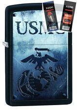 Zippo 28744 United States Marines USMC Lighter with *FLINT & WICK GIFT SET*