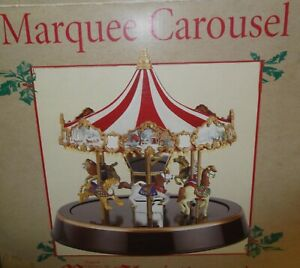 RARE 2005 MR CHRISTMAS MARQUEE CAROUSEL IN THE WOODS, MUSICAL - 30 SONGS