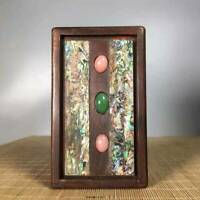 Chinese Natural Rosewood Inlaid shells & Gemstone Hand carved Exquisite