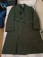 Vintage 1960s Olive Green Military Overcoat Gabardine AG 44 Wool (h100)