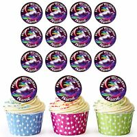 24 Personalised Pre-Cut Unicorn Edible Birthday Cupcake Toppers Daughters Girls
