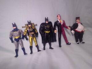 5 Figure Lot Vintage 1989-1993 DC Batman Penguin Two Face Action Figures Kenner