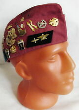 Russian Army Pilotka Garrison Cap Hat with Real USSR Badges, Crimson 57 M