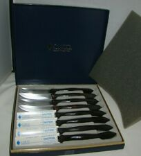 CUTCO #1759 Steak/Table Knife Set of 8 with Case Brown Handles New & Used