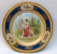"1905 VICTORIAN BUTTERFLY LADY blue border Vienna Art Plates 10"" tin tray"