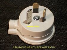3 PIN RE-WIRE-ABLE SIDE ENTRY PLUG 240 V -10 A  - NEW