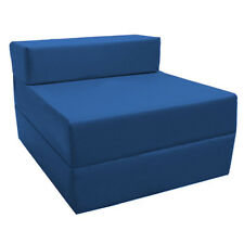Fold out Foam Guest Z Bed Chair Waterproof Sleep Over in or Outdoor Futon Single Blue