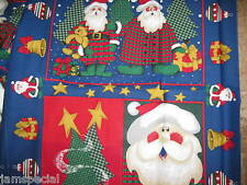 Santa Trees Ornament Fabric Panel Tops 2 35x44 EACH cotton quilt craft sew blue