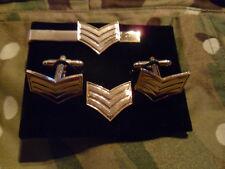 Sergeant Cufflink, lapel pin +tie slide set, Army, RAF, Navy, Rank, Sgt's mess