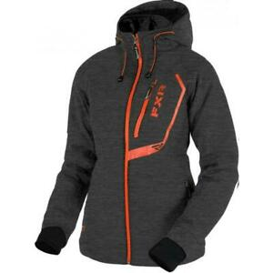 NEW FXR WOMEN'S VERTICAL PRO SOFTSHELL JACKET CHARCOAL/ELECTRIC TANGERINE 10&12