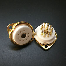 100pcs 9Pin 95 Ceramic Vacuum Tube Socket Mount Gold Valve Base for 12AT7 12AU7