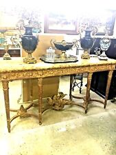Antique Gold Leaf Console Table With Marble Top