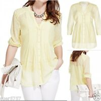 New Ex M&S Ladies Lime Spotted Chiffon 3/4 Sleeve Casual Top Size 12 - 22