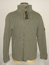 Men's BENCH green zip-up wool blend sweater thumbholes size XL