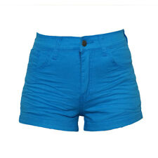 Cintna Colored High-waist Shorts Blue Large