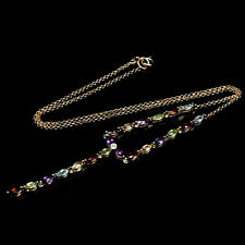 925 STERLING SILVER 14K YELLOW GP 2.32 CTW GEMSTONES NECKLACE