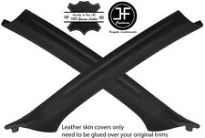 BLACK & BLACK 2X A PILLAR REAL LEATHER COVERS FOR BMW 3 E46 COUPE 1998-2005