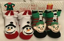 #3- Baby Christmas Socks - 2 Pairs - Novelty Characters - 0-3 Months - Brand New