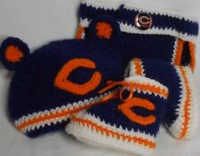 Handmade Crochet Chicago Bears High Top Booties, Hat & Diaper Cover Set