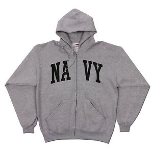 SOFFE U.S. NAVY MILITARY GRAY ZIP-UP HOODIE PULLOVER UNISEX SIZES M XL NWT