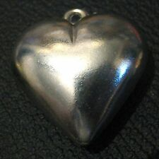 Lovely pendant heart in silver tone metal with fixed hoop approx 1.5ins wide