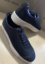 New $675 Giorgio Armani Mens Suede Sneakers Shoes Blue 10.5 US/9.5 UK X1X083