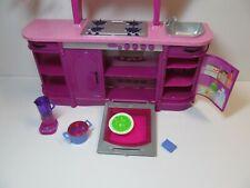 Barbie 2008 Glam Kitchen Furniture Pot blender Food Chandelier Microwave utensil