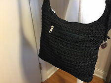 THE SAK Women's Black Woven Crochet Shoulder Handbag Purse
