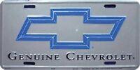 Genuine Chevrolet Silver Embossed Metal License Plate / Sign