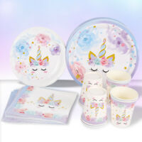 Unicorn Paper Plate Tableware Set Disposable Birthday Baby Shower Party Decor