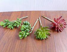 Artificial Succulents 3 Stem Yacon Finger Lotus Plants Home Decor set of 4