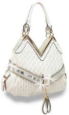 Rhinestone Chevron White Quilted Handbag Dual Straps