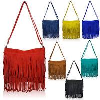 Ladies Soft Fringe Genuine Italian Suede Tassel Messenger & Cross Body Tote Bag
