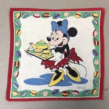 Vintage Novelty Print Minnie Mouse Disney Tea Party Handkerchief
