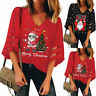 Women V-Neck Mesh Patchwork Tops Trumpet Sleeve Loose Christmas Print Tee Blouse