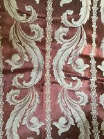 Antique Silk Scroll Damask 8 Pc Backed Drape Curtain Tie Backs Jacobean MCM