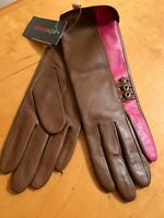NWT Women's Echo Leather  Brown Pink Gloves With Studs  Size Small #26