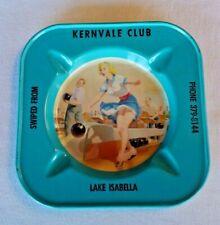 Vintage Risque Girlie Metal Ashtray Kernvale Club Lake Isabella Excellent Cond