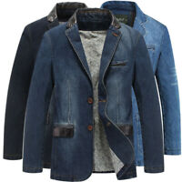 SPRING MEN'S SLIM LEATHER JEANS DENIM SUITS JACKET CASUAL BLAZER TOPS JACKETS