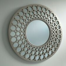 Metallic Silver Large Moroccan Round Wall Art Mirror Contemporary Mirror Decor