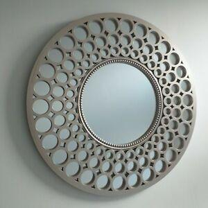 Metallic Silver Large Moroccan Round Wall Art Mirror Contemporary Mirror Decor