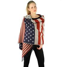 Winter Ultra Soft Big Warm American USA Flag Blanket Scarf Wrap Shawl Ski Sknow
