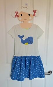 MINI BODEN BLUE/YELLOW APPLIQUE WHALE SEASIDE T-SHIRT DRESS 9-10 yr girl anchors