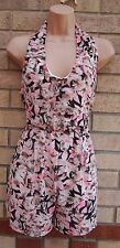 EVITA WHITE BLACK PINK FLORAL HALTERNECK CHIFFON ALL IN ONE PLAYSUIT 10 S