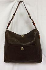 Coach 10132 Chelsea Dark Brown Pebbled Leather Turn Lock Shoulder  Bag