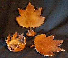 Metal Autumn Leaves Candle Holders 3 Pc Lot.