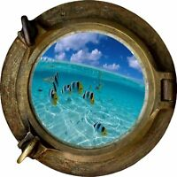 Huge 3D Porthole Fantasy Fish Under Sea View Wall Stickers Film Mural Decal 514