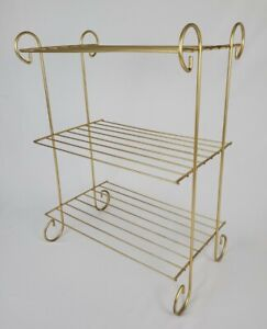 Mid-Century Gold Metal Wire Record Player Rack Plant Stand Accent Table Vintage